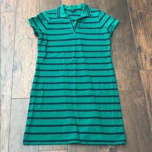Lands end polo dress blue and green striped